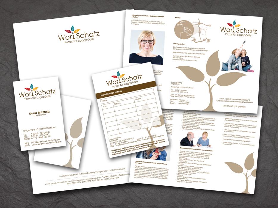 CD und Geschäftsausstattung Praxis WortSchatz - Konzept, Text und Karte: Birgit Mittelstenschee; Design: Matthias Hahne